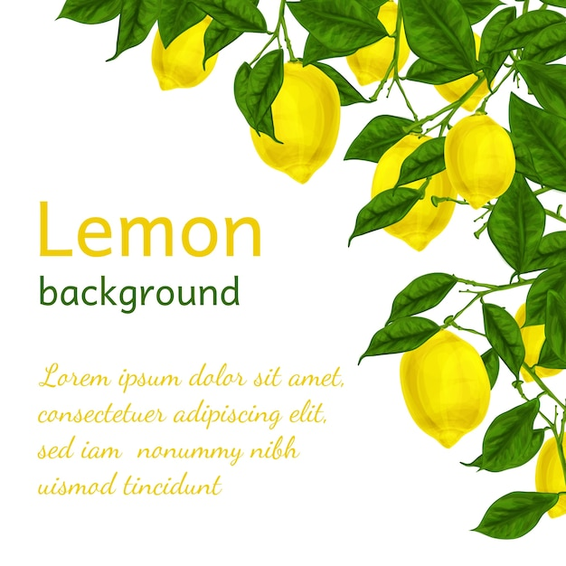 Background with watercolor lemons Free Vector