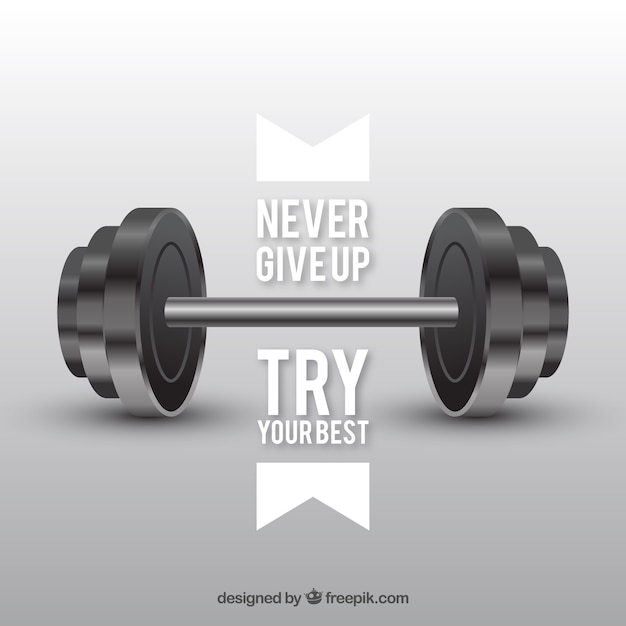 Free Weights Sports Direct: Background With Weights And Inspiring Message Vector