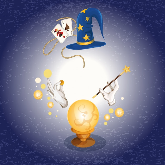 Background with wizard items Free Vector