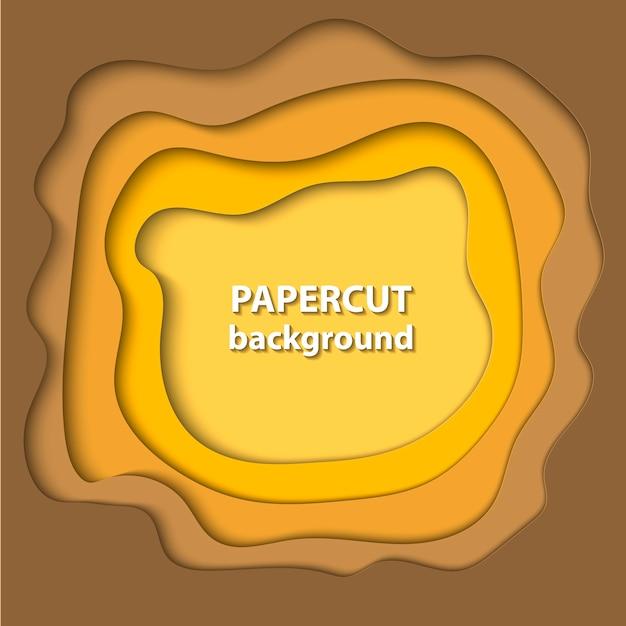 黄色のグラデーションカラーの紙のカット形状の背景 Premiumベクター