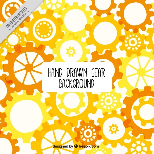 Background with yellow and orange gears Free Vector