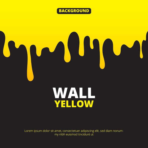 Background with yellow paint dripping Premium Vector