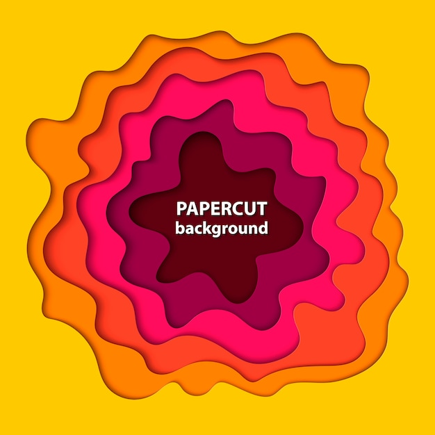Background with yellow, pink and orange paper cut Premium Vector