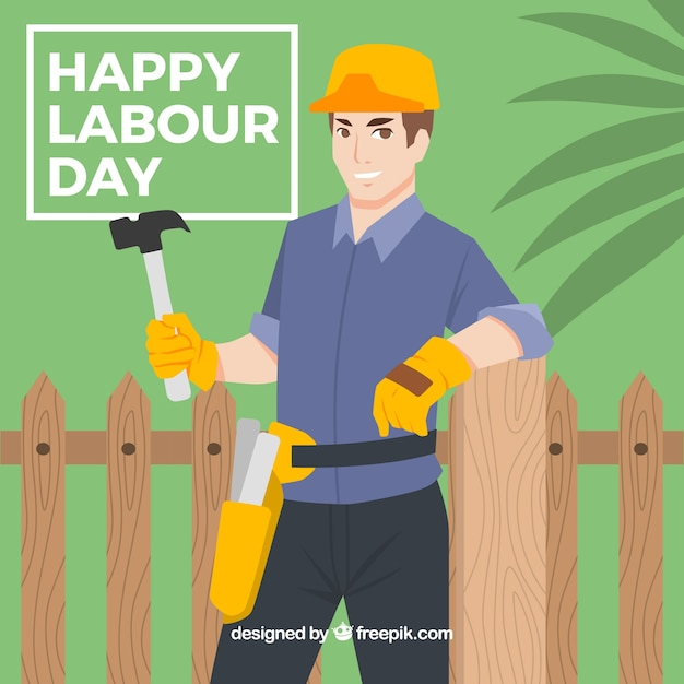 Background of worker leaning on a fence Free Vector