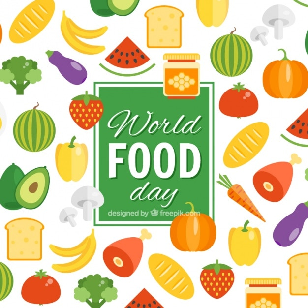 Background of world food day fruits and vegetables Free Vector