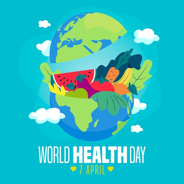 Background of world health day flat design Free Vector