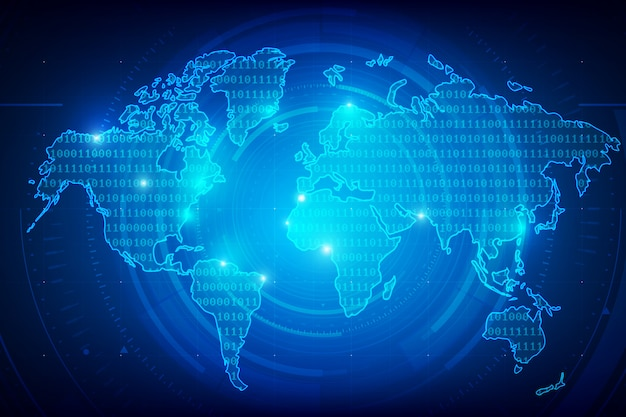 Background world map binary digit texture Premium Vector