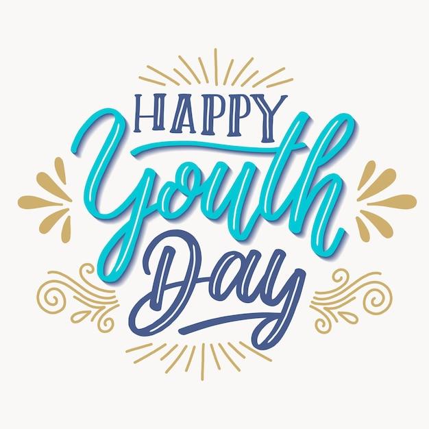 Фоновая надпись день молодежи Бесплатные векторы