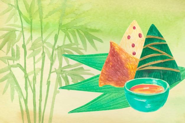 Sfondo di zongzi e salsa Vettore gratuito