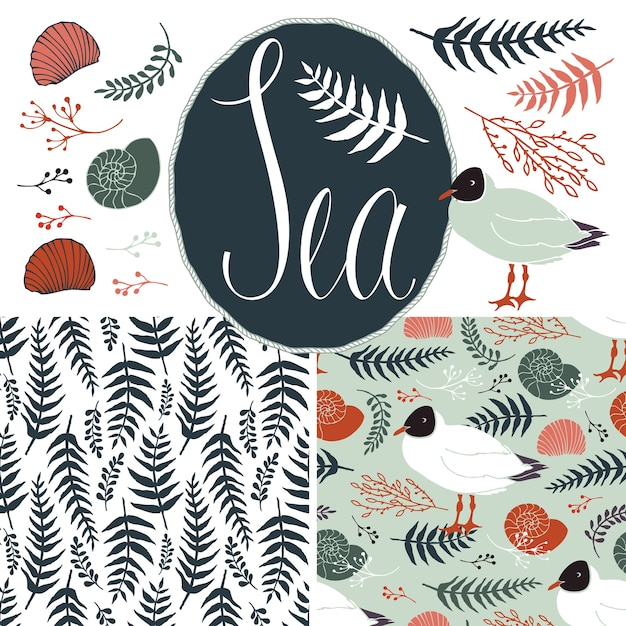 Backgrounds with gulls and ferns. sea set Free Vector