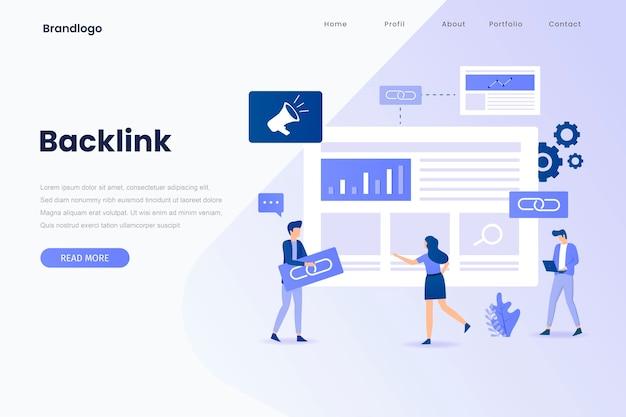 Backlink illustration landing page. landing page Premium Vector