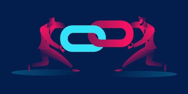Backlinks or link building business concept illustration Premium Vector