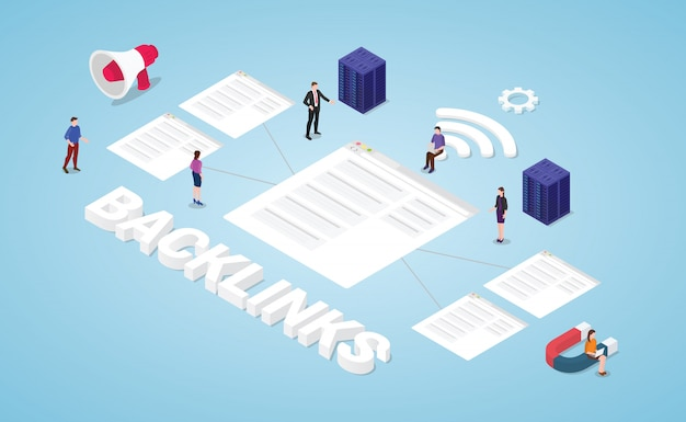 Backlinks seo search engine optimization concept with modern isometric style Premium Vector