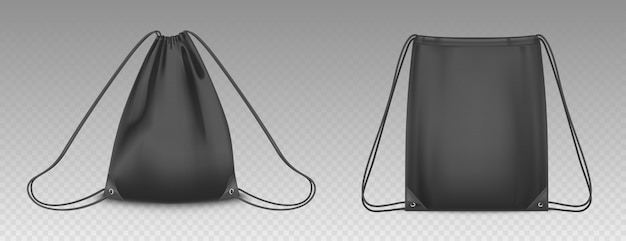 Backpack bag with drawstrings isolated. vector realistic mockup of school pouch for clothes and shoes, black empty and full sport knapsacks with strings Free Vector
