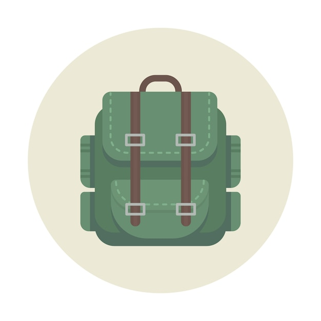 Backpack camping icon for outdoor travel Premium Vector