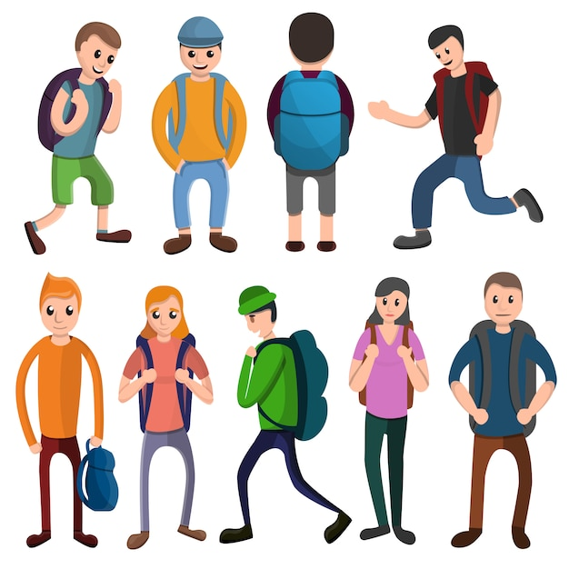 Backpack icons set, cartoon style Premium Vector