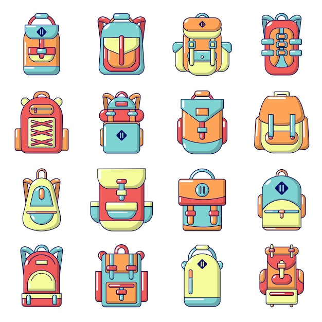 Backpack icons set Premium Vector