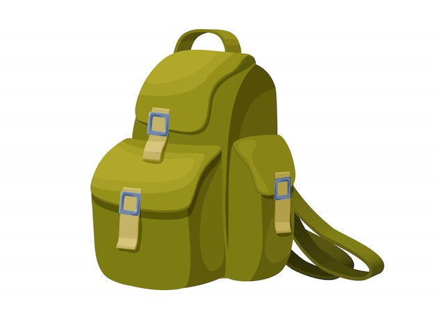 Backpack isolated icon in cartoon style Premium Vector