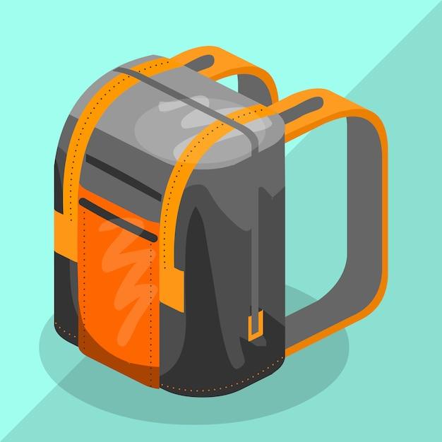 Backpack isometric schoolbag educational Premium Vector