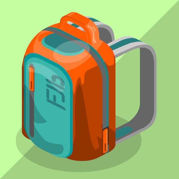 Backpack isometric schoolbag Premium Vector