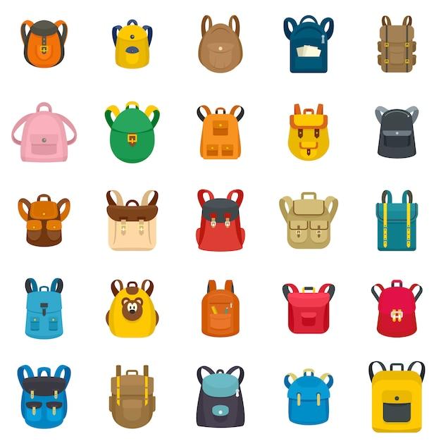 Backpack school travel sport kid camping bag icons set Premium Vector