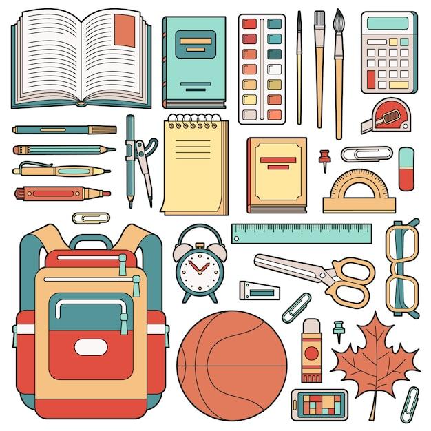 Backpack of the schoolboy and school stuff. Premium Vector