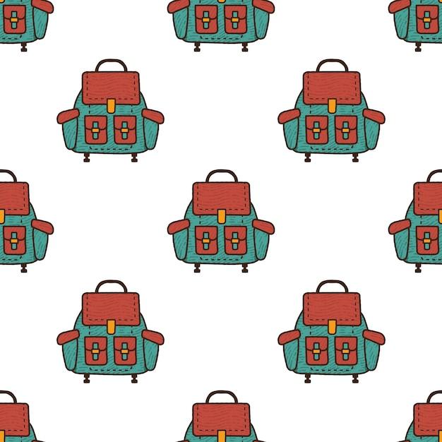 バックパックのシームレスなパターン。 Premiumベクター