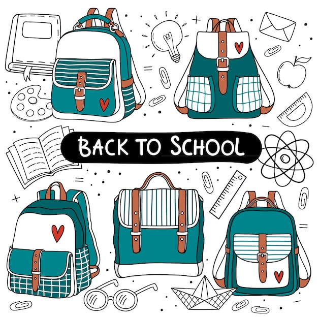 Backpack set for back to school Premium Vector
