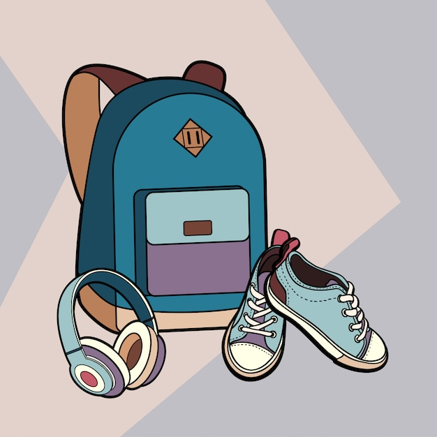 Backpack, sneakers and headphones vector isolated set. Premium Vector