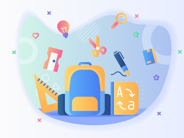 Backpack and stationary icon set ruler sharpener scisor pen dictionary back to school concept with flat style vector design Premium Vector