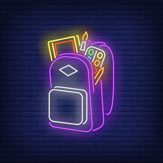 Backpack with artist's materials neon sign Free Vector