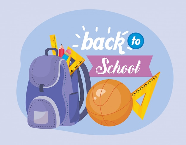 Backpack with basketball ball and triangle rulers Free Vector