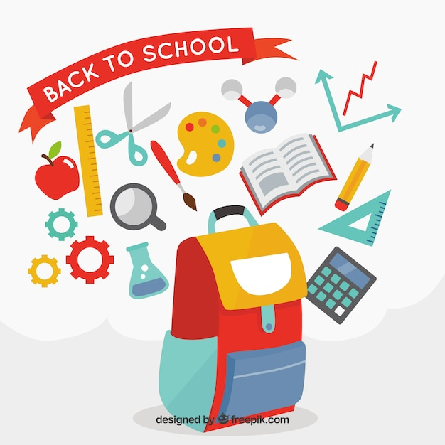 Backpack with school supplies Free Vector
