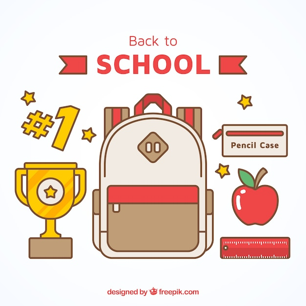 Backpack with trophy and other elements Free Vector