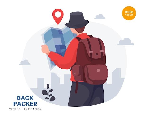 배낭 개념 그림 아이디어,지도와 남자 또는 남자는 모험 목적지에 대 한 휴가를 확인합니다. 프리미엄 벡터