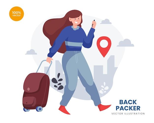 배낭 개념 벡터 일러스트 레이 션 아이디어, 여자 또는 소녀 모험 목적지에 대 한 휴가를 확인합니다. 프리미엄 벡터