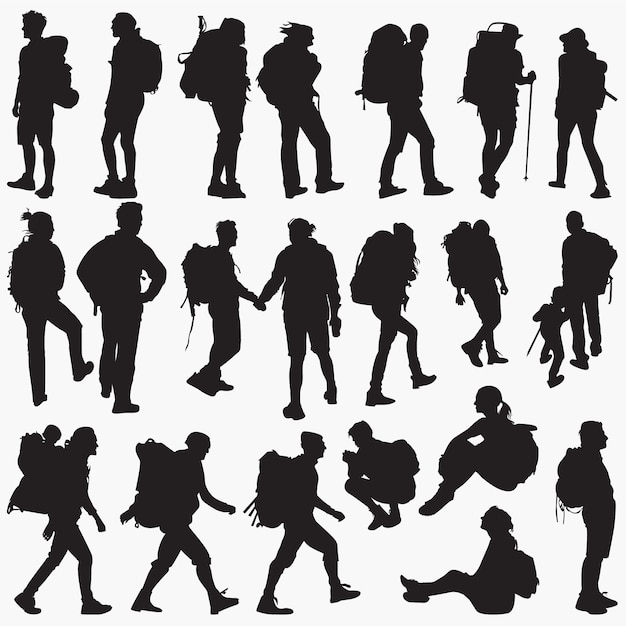 Backpacker silhouettes Premium Vector