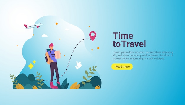 Backpacker travel adventure concept. outdoor vacation theme of hiking, climbing and trekking Premium Vector