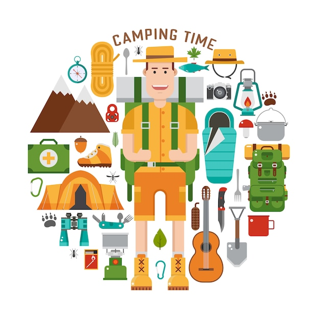 Backpacker vector camping set. hike and camp gear in flat. Premium Vector
