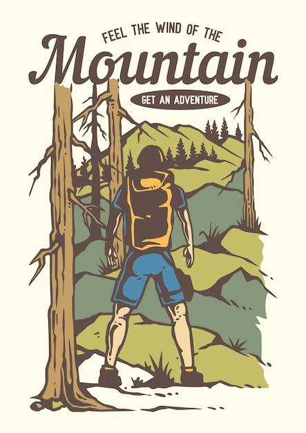 Backpacker человек, треккинг по лесу с прекрасным видом на горы Premium векторы