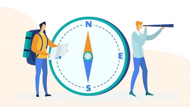 Backpackers путешествия плоский иллюстрация Premium векторы