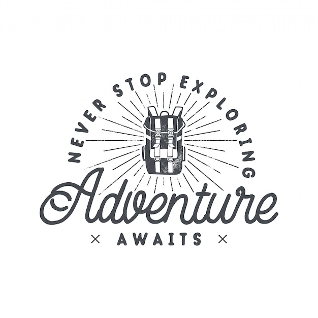 Backpacking adventures print design, logo emblem with backpack and phrase - never stop exploring, adventure awaits Premium Vector
