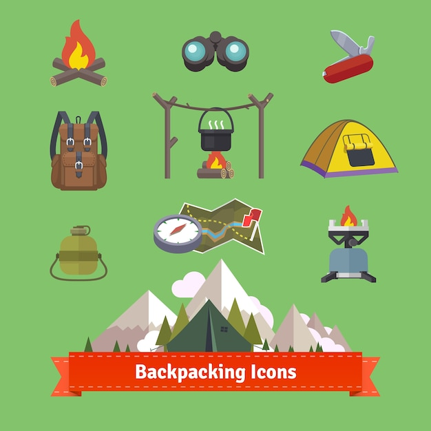 Backpacking and hiking flat icon set Free Vector