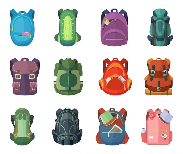 Backpacks for school and hiking. vector illustration in flat style Premium Vector