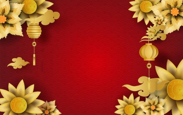 幸せな中国の新年の花の花ゴールデンフレームbackrgound Premiumベクター