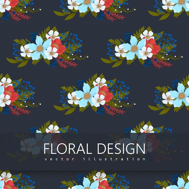 花backrounds赤、水色、白い花のシームレスパターン 無料ベクター