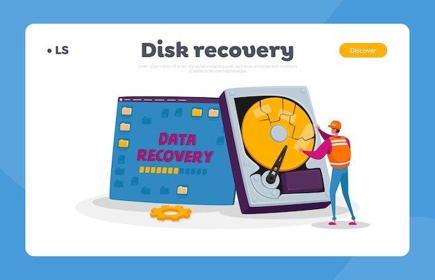 Служба резервного копирования, восстановления и защиты данных, шаблон целевой страницы для ремонта оборудования Premium векторы