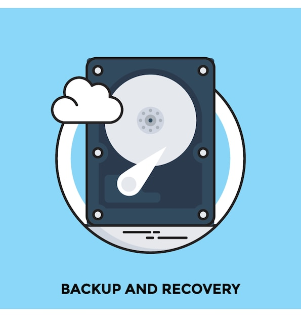 Backup and recovery flat vector icon Premium Vector