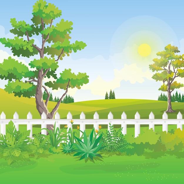 Backyard garden Premium Vector