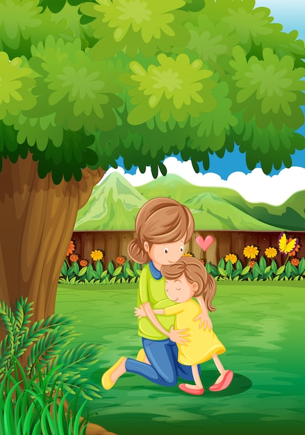 A backyard with a mother and a child Free Vector